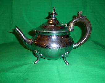 One (1), Chrome Plated, 4-5 Cup, Tea Pot, with Inscription.