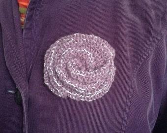 Reflective purple flower brooch