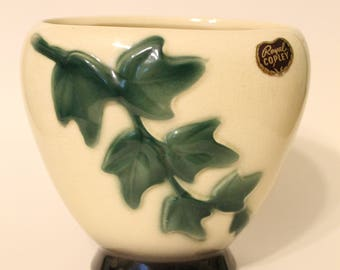 Royal Copley 1950's Pottery Ivy Footed Planter with Original Sticker