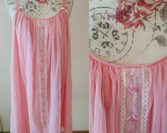 vintage 1960s pink babydoll with floral embroidery
