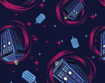"End of Bolt, Flannel - Doctor Who Pink Tardis Swirl Flannel Fabric by Springs Creative 14""x44"""