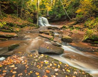Waterfall Photography, Autumn Forest, Lost Creek Falls, Wisconsin, Nature Spirits, Magic, Healing Art, Dreamy, Yellow Brown White, Zen Decor