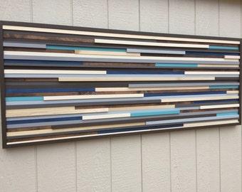 Wall Art - Wood Wall Art - Reclaimed Wood Art Sculpture - Modern Wall Art/Abstract Painting on Wood