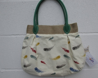 Feather print Fabric project bag 435