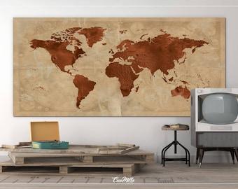 World Map Extra Large Canvas Print Large Rustic World Travels Map Art Print Wall Art Wall Decor Canvas Art Wall Hanging Wanderlust Decor-850