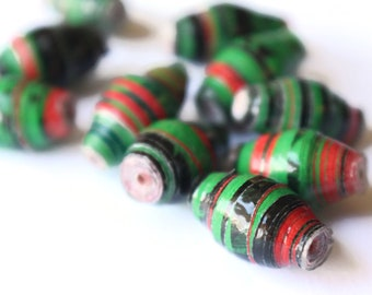10 14mm Red Black and Green Striped Ugandan Paper Beads Fair Trade Beads African Paper Beads Sealed Paper Beads Upcycled Bead Jewelry Making
