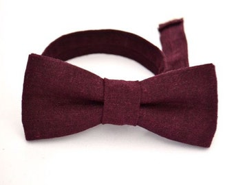 Boys Purple Bow Tie, Boys Bow Tie, Ring Bearer Bow Tie, Wedding Bow Tie, Purple Bow Tie, Eggplant Purple Bow Tie