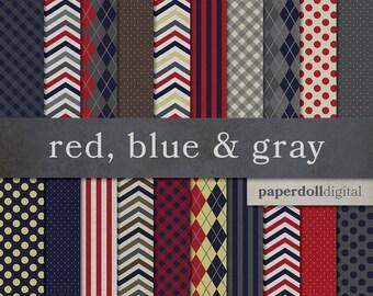 Red, Blue & Gray Digital Paper - Argyle Pattern - Chevron Digital Paper - Plaid Digital Paper - Instant Download - 20 Sheets