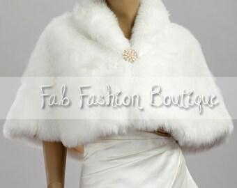 Bridal wedding faux fur caplet fur shrug faux fur wrap faux fur shawl