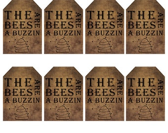 grungy tag set, primitive tags, craft supplies, scrapbooking  - the bees are a buzzin - medium size - digital PDF & jpeg - BBGT02