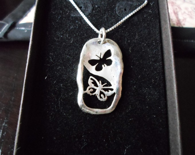 Melted reflection two butterfly necklace w/sterling silver chain