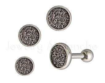 3-PCS 16g Tragus Earrings, Cartilage Earrings 4mm/5mm/6mm Diameter, Bezel Sandpaper Tragus Stud Earrings, Helix Earrings 316L Surgical Steel