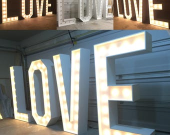 Large 4ft - 5ft - 6ft - 7ft Tall LOVE Vintage Marquee Letter Lights