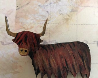 Highland Coo, Brooch, handmade, Scottish, Highlands, wooden, painted, cow, made in scotland, unique, highland cow, wearable art. Coo. Animal