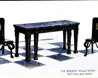 c.1930s QUEEN Elizabeth's DOLLHOUSE Furniture; Hall Table and Chairs; Raphael Tuck & Sons Postcard No. 4500; Series I; Mint