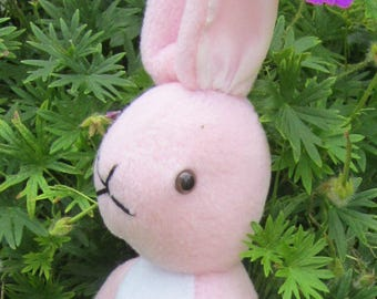 Stuffed Fleece Rabbit Pink Stuffed Bunny Kid's First Toy Ornamental Present Christening Present Nursery Decoration Fun Toy Ornamental Gift