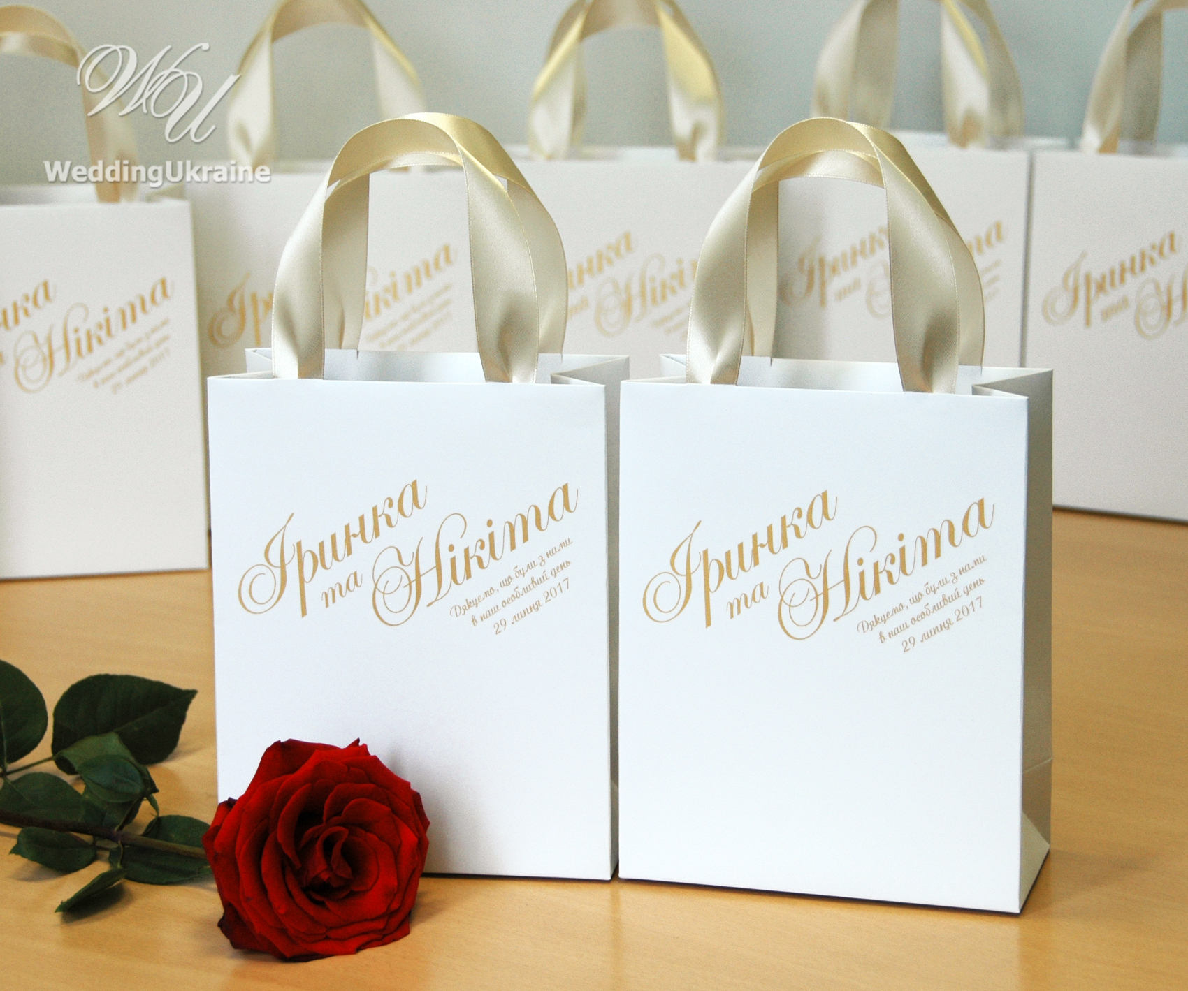 30 gift bags for wedding party for guests with Champagne satin