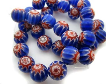 Blue with red and white star Millefiori Beads - CG238