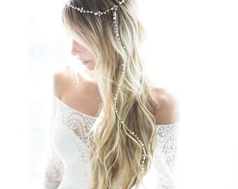 Gold or Silver Boho Hair Vine, Long Hair Vine, Boho Bridal Pearl Flower Hair Crown, Hair Wreath,  Wedding Headpiece - 'MAY'