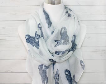 Cat Infinity Scarf, Cat Print Scarf in Light beige color, Animal Print Scarf, Purrrfect Accessory, Kittie Scarf, For Cat Lovers
