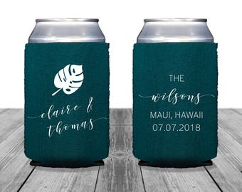 Neoprene Can Coolers, Personalized Coolies, Wedding Can Huggers, Custom, Hawaii Wedding, Can Coolers, Tropical Wedding, Monstera, 1362