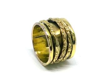 Indian Handmade Ring/ Gold Color Ring / Spinner Ring / Meditation Ring