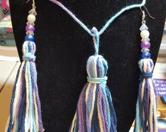 Earring & necklace tassel set
