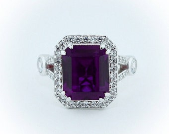 Emerald Cut Amethyst and Diamond Split Shank Halo Ring - Plum