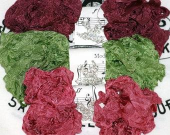 Crinkled Seam Binding , ENGLISH ROSES , Burgundy , Dark Rose , Leaf Green , Rayon Ribbon , Crinkle Ribbon