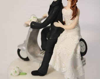 Wedding bride and groom Cake Topper on vespa