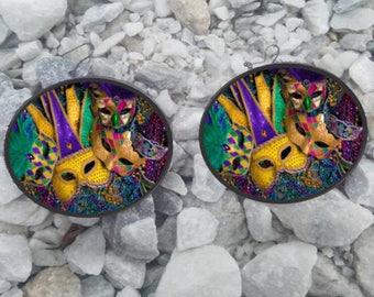 Mardi Gras Themed Earrings - Decoupage Laser Image On  Faux Green Canvas