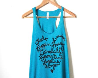 Lord of the Rings, Fellowship of the Ring Names, Racerback Tank. MADE TO ORDER