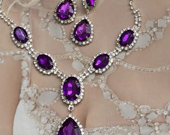 Wedding jewelry, Bridal jewelry set, bridesmaid necklace earrings, Purple teardrop crystal jewelry set, Ballroom fashion jewelry set