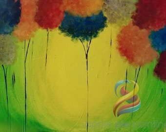 Cotton Candy Trees In-Home Painting Kit with Instructional Video, Canvas, Paints, Brushes and more!