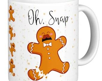 Christmas Mug | Gingerbread Man Oh Snap Mug | oh snap  Gingerbread Woman| Gingerbread Man or Woman Christmas Mug