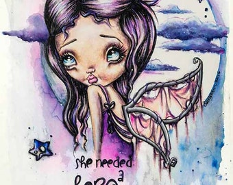 """Big Eye Fairy Art """"Stardust"""" Original Watercolor Painting Fine Art Reproduction Giclee Print Signed by Artist Lizzy Love [IMG#173]"""