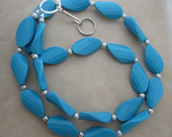 upcycled plastic turquoise silver pearl lanyard badge ID holder
