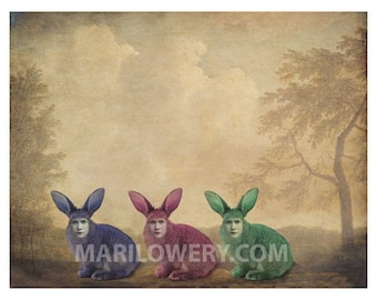 Weird Easter Art Mixed Media Collage Colorful Three Creepy Bunny Rabbits 8.5 x 11 Inch Surreal Wall Art Print, frighten