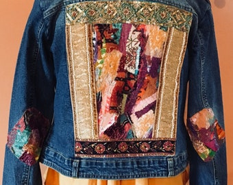 Well Traveled Bohemian Upcycled Jean Jacket Size M