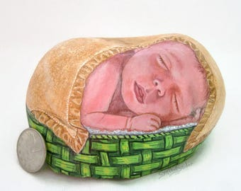 Painted rock,painted stone,painted baby rock, baby painting, sleeping baby, baby in basket, baby shower gift, Mothers Day, baby in blanket