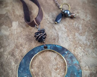 Blue Eclipse Necklace with Copper and Leather