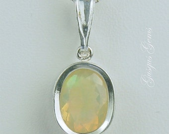 Ethiopian Opal Sterling Silver Necklace 9x7mm Oval .95ct In Backset Bezel Natural Untreated Faceted
