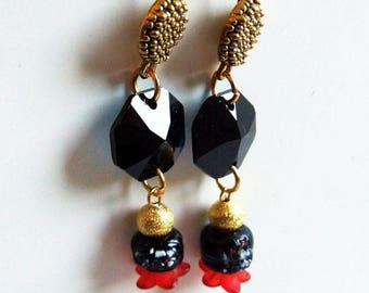 Black gold red metal glass and lucite Flower Earrings