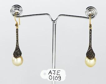 Victorian Handmade Women Dangling Oxidized Hook Earrings 14kt Gold .925Sterling Silver Pave Diamonds Pearl Gemstone