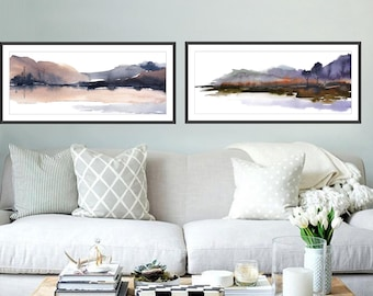 SET of 2 Prints of 12x36 inches, Horizontal Art Print,  Narrow Landscape Art, Watercolor Painting Print,  Large Print, Set of Two, Matching