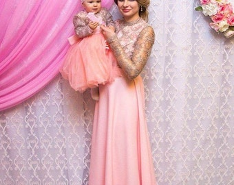 Mother Daughter Matching Lace Peach Pink dress, Tutu dress Mommy and Me Matching evening Outfits Maxi Dress Christmas gift Mom Baby