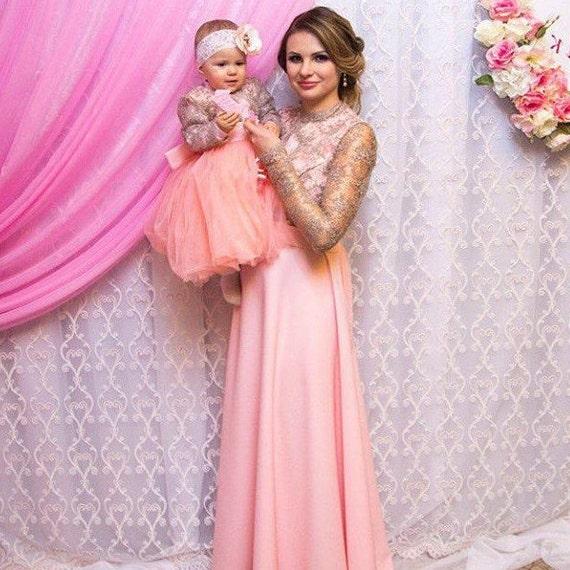 Mutter Tochter passende Spitze Pfirsich rosa Kleid Tutu Kleid