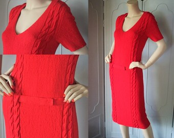 Vintage 50's Cable Knit Dress in CHERRY RED with Drop Waist and Belt. Gorgeous.