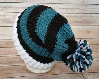 Teal Black Slouchy Hat, Teal Black Sports Team Hat, Jags Hat, Knitted NFL Hat, Knitted Jacksonville Jaguars Hat, Jags Beanie