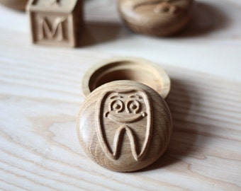 Tooth fairy box Tooth fairy pillow alternative Gift for girl Gift for boy Trinket box Jewelry box Carved box Wood box Wooden box Round box